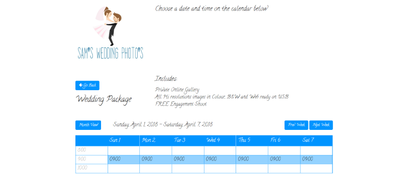online booking system for wedding photographers